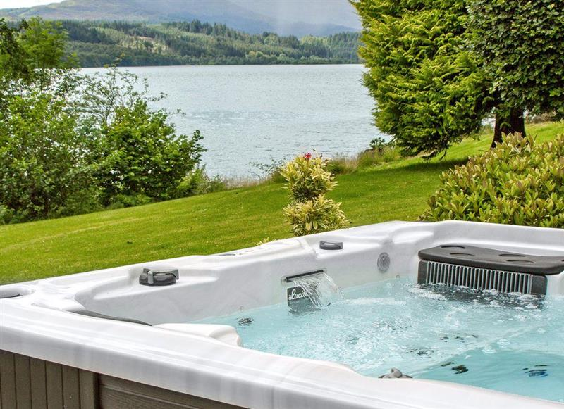 Garden and hot tub at Carsaig, Brig o'Turk, near Callander