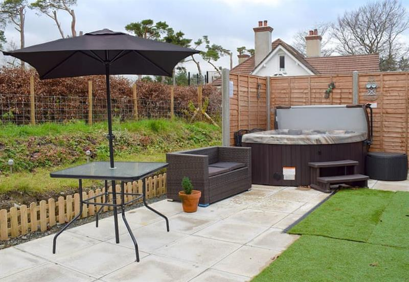 Garden and hot tub at La Petite Maison, Devil's Bridge, near Aberystwyth, Ceredigion